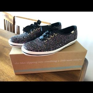 Kate Spade Multi colored black glitter Keds 7